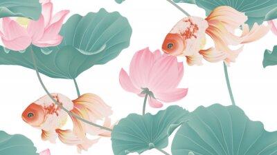 Fototapet Botanical seamless pattern, pink lotus flowers and goldfish on white background, pastel vintage style