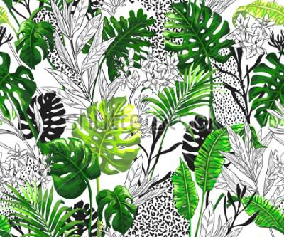Fototapet Botanisk bakgrund med tropiska palmblad. Seamless vektor mönster i trendig hawaiian stil.