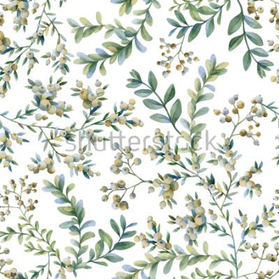 Fototapet Botanisk illustration. Botaniskt tryck. Sömlöst mönster.