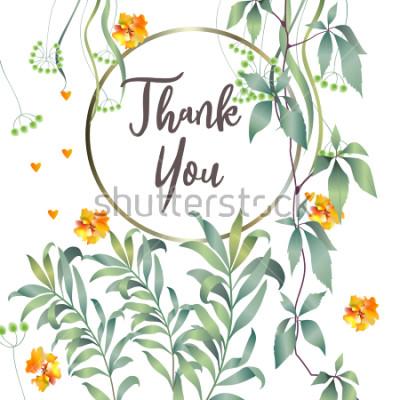 Fototapet Botaniskt kort med monstera blad, blommor. Vår prydnadskoncept. Blomaffisch, inbjudan. Vektorlayout dekorativa hälsningskort eller inbjudan design bakgrund. Handritad illustration