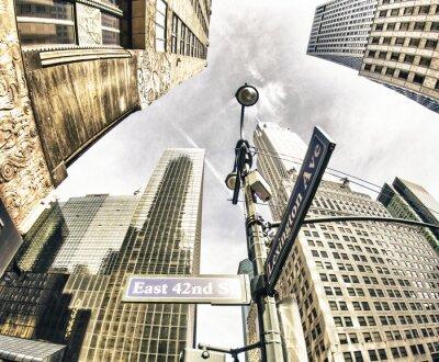 Fototapet Bottom-up bild av New York skyskrapor