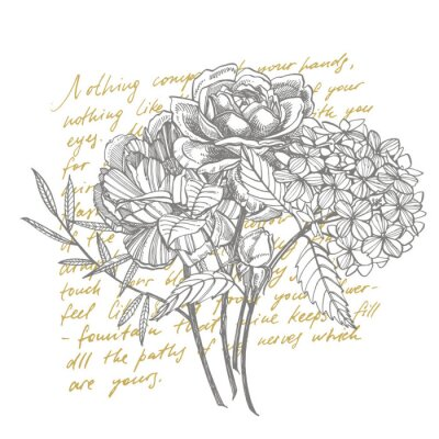 Fototapet Bouquet. Spring Flowers and twigs. Peonies, Hydrangea, Rose. Vintage botanical illustration. Black and white set of drawing cornflowers, floral elements, hand drawn botanical illustration. Handwritten