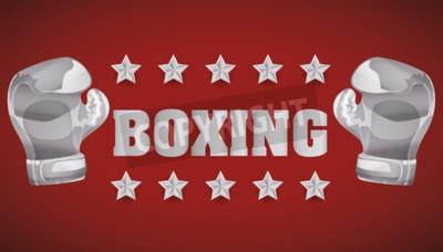 Fototapet Boxning koncept med mästerskap ikoner design, vektor illustration 10 eps grafik.