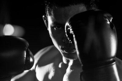 Fototapet Boxning man redo att slåss. svartvitt