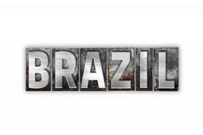 Fototapet Brasilien Koncept Isolerad Metall Boktryck Typ