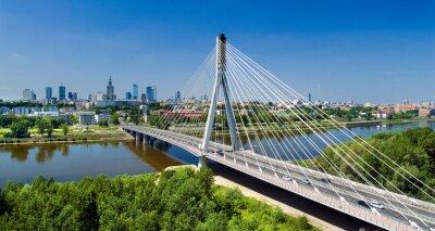 Fototapet Bridge i Warszawa över floden Wisła