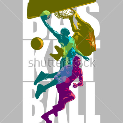 Fototapet Bright Basketball players silhouettes with Colour Channel overlaping  sport illustration