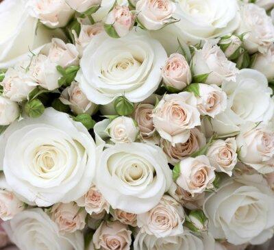 Fototapet Bröllop bukett pinkand vita rosor