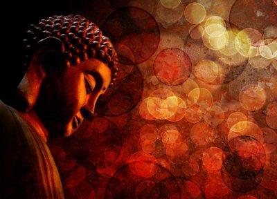 Fototapet Brons Red Zen Buddha-statyn som mediterar