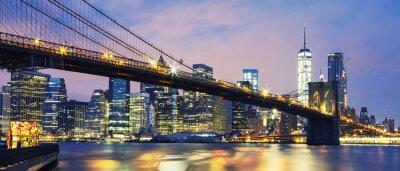 Fototapet Brooklyn Bridge i skymningen