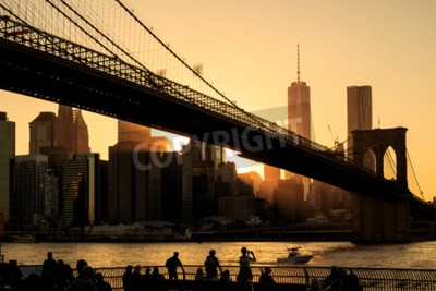 Fototapet Brooklyn Bridge vid solnedgången, New York City