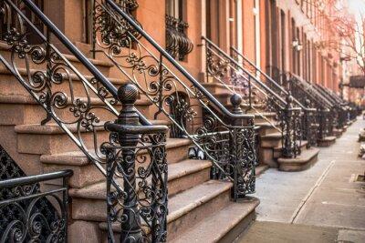 Fototapet Brownstone lägenheter i stadsdelen Chelsea i New York