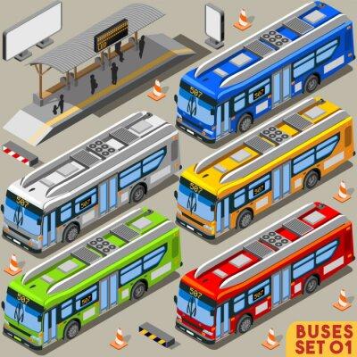 Fototapet Buss Set 01 Fordons Isometrisk