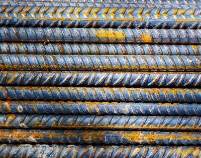 Fototapet Byggarbetsplats - Bakgrund stålstänger