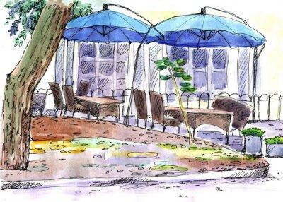 Fototapet Café på gatan. blå paraplyer, vattenfärg