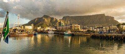 Fototapet Cape Town, Sudáfrica, Waterfront, tramonto, Taffelberget