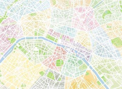 Fototapet Cartina Parigi, disegnata en mano, pennellate, strade e vie, Francia