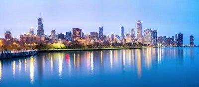 Fototapet Chicago centrum och Lake Michigan Panorama