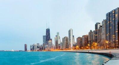 Fototapet Chicago panorama Lake Michigan