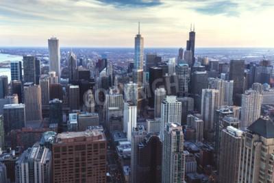 Fototapet Chicago stadsbild med skyskrapor, antenn eller fågel ögon utsikt, molnig dag. Illinois, USA.