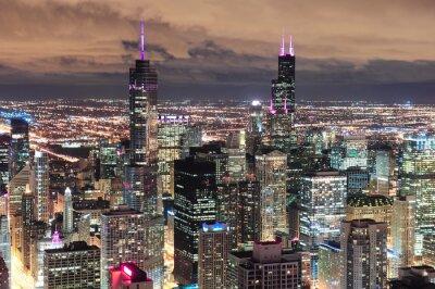 Fototapet Chicago Urban Flygfoto vid skymning