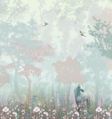 Fototapet Children's wallpaper. Blue and pink forest. Fairy forest with horse and caliber.