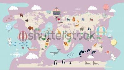 Fototapet children's world map for the interior