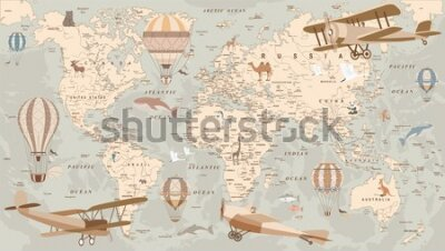 Fototapet childrens retro world map with animals airplanes and balloons