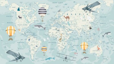Fototapet childrens world map with animals, balloons and airplanes