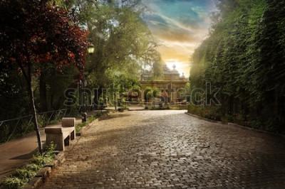 Fototapet Chilenska parallellpiped väg. Kullerstensgata i en park i centrala Santiago.