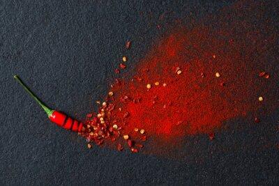 Fototapet Chili, röd paprika flingor och chilipulver