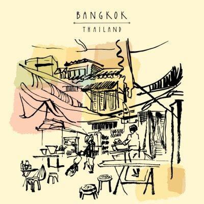 Fototapet China town i Bangkok, Thailand. Matstånd, tabeller, avföring. Folk köper kinesisk mat i en enkel gata café. Vertikal årgång handritad vykort. vektor