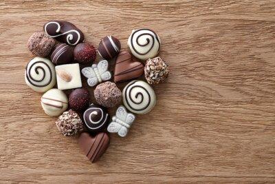 Fototapet Choklad godis hjärta