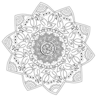 Fototapet Cirkulär abstrakt mönster av olika element.
