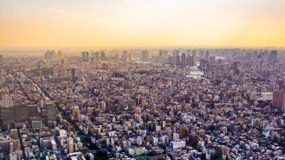 Fototapet Citiscape i Tokyo vid solnedgången, Japan