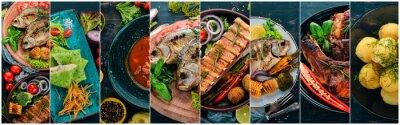 Fototapet Collage av rätter. Sallader, snacks och kötträtter och fisk. På en träbakgrund. Toppvy.