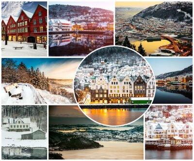Fototapet collage av vintern och sevärdheter i Bergen