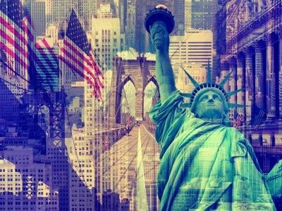 Fototapet Collage som innehåller flera New York landmärken