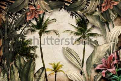 Fototapet Colored Tropical Flowers wallpaper illustration