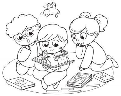Fototapet Coloring illustration av vänner läser en pop-up bok tillsammans.