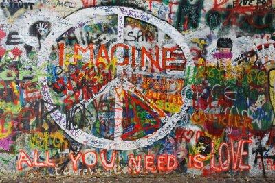 Fototapet Colour fred graffiti på väggen