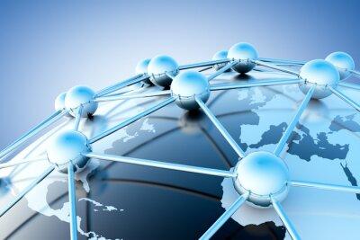 Fototapet concepto de internet y trabajo sv röd con karta del mundo