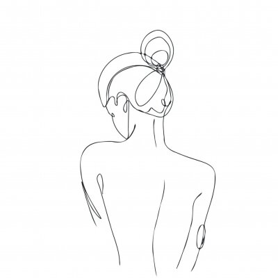 Fototapet Continuous line drawing. Woman body. Vector Illustration for spa, tshirt, nails, poster