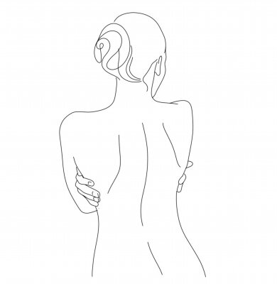 Fototapet Continuous line drawing. Woman body. Vector Illustration for spa, tshirt, nails, poster. vector image of a woman. one line sketch