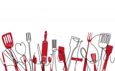 Fototapet Cooking Seamless Pattern. Outline Cutlery Background. Trendy One Line Drawing.  Isolated Kitchen Utensils. Cooking Design Poster. Vector illustration.