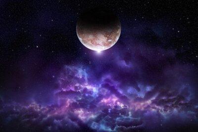 Fototapet Cosmos scen med planet, nebula och stjärnor i rymden