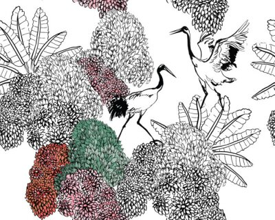 Fototapet Couple of Cranes in Rajastan Blooming Bushes and Tropical Leaves, Black and White Doodle Drawing Wildlife Exotic Bushes, Tropical Birds in Jungle Textile Design on White Background