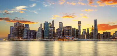 Fototapet Crépuscule à Manhattan, New York.