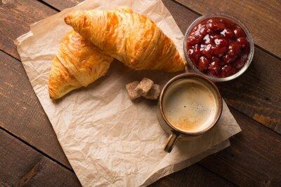 Fototapet croissant med kaffe