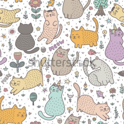 Fototapet Cute cats in the summer seamless pattern. Great for cards, invitations, fabric and textile. Vector illustration